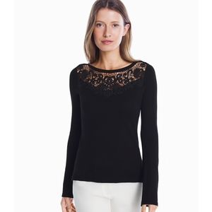 WHBM LACE INSET TIE BACK PULLOVER SWEATER